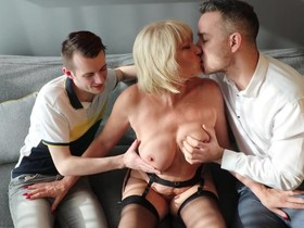Perverted GILF gets double penetrated by two young boys