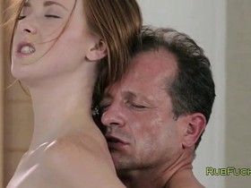 Freckled redhead fucked by masseur and sucks his dick
