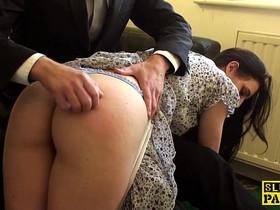 Spanked british sub riding maledoms cock