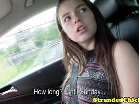 Hitchhiking brunette flashing her tits
